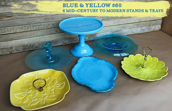 blue and yellow glass set